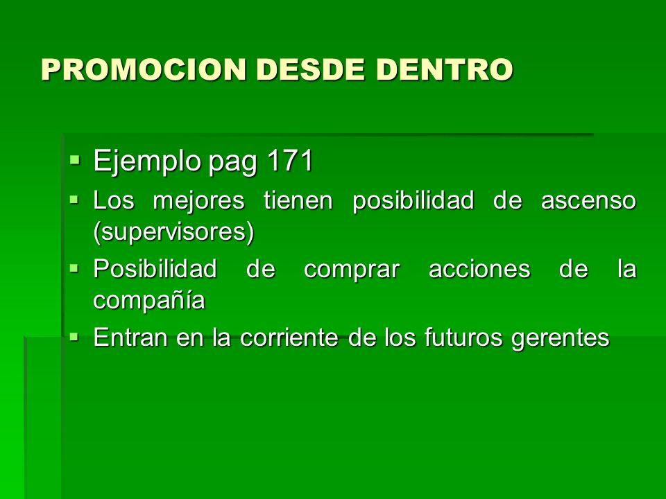 PROMOCION DESDE DENTRO Ejemplo pag 171 Los mejores tienen posibilidad de ascenso (supervisores) Posibilidad de comprar acciones de la compañía Entran en la corriente de los futuros gerentes