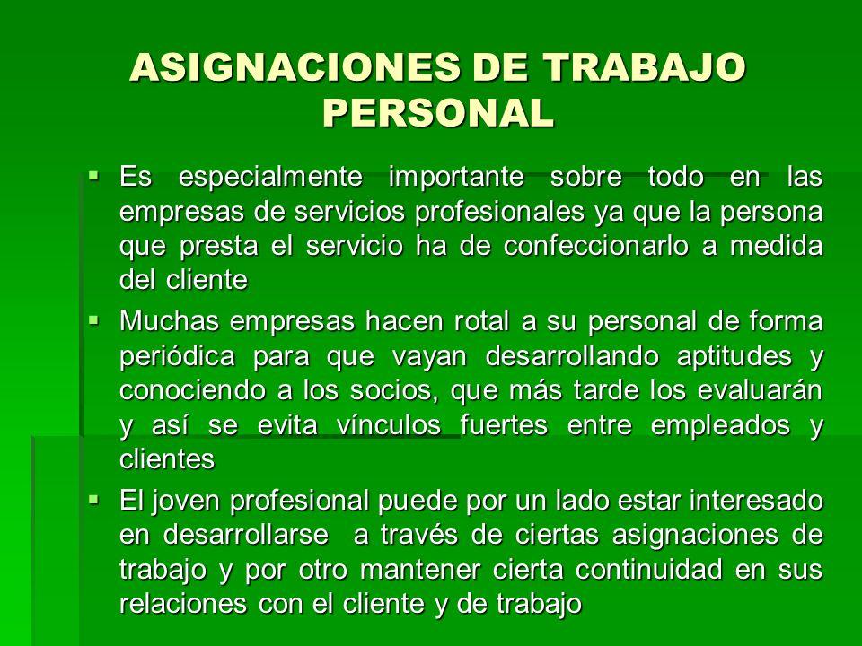 ASIGNACIONES DE TRABAJO PERSONAL Es especialmente importante sobre todo en las empresas de servicios profesionales ya que la persona que presta el ser