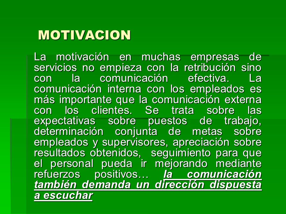 MOTIVACION La motivación en muchas empresas de servicios no empieza con la retribución sino con la comunicación efectiva. La comunicación interna con