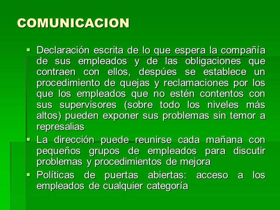 COMUNICACION Declaración escrita de lo que espera la compañía de sus empleados y de las obligaciones que contraen con ellos, despúes se establece un p