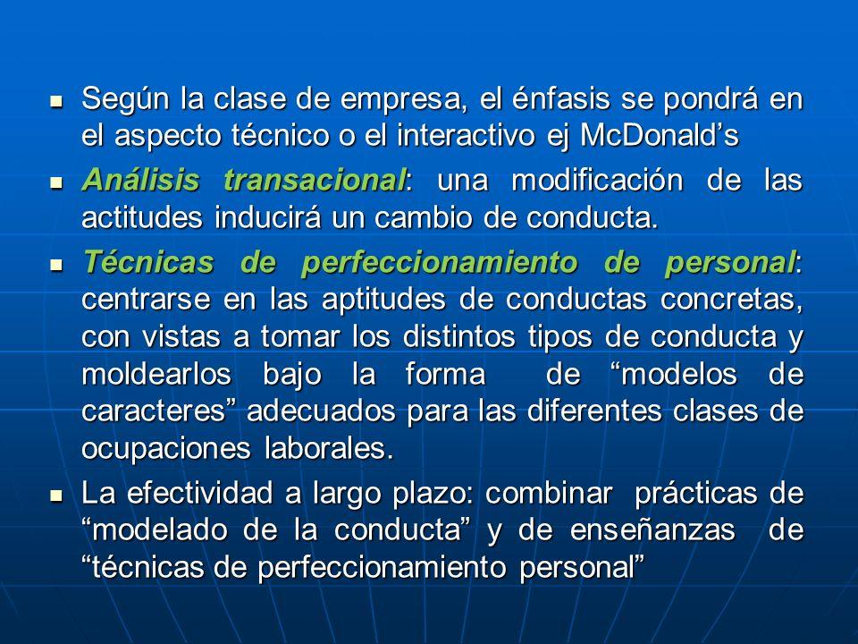 Según la clase de empresa, el énfasis se pondrá en el aspecto técnico o el interactivo ej McDonalds Según la clase de empresa, el énfasis se pondrá en el aspecto técnico o el interactivo ej McDonalds Análisis transacional: una modificación de las actitudes inducirá un cambio de conducta.