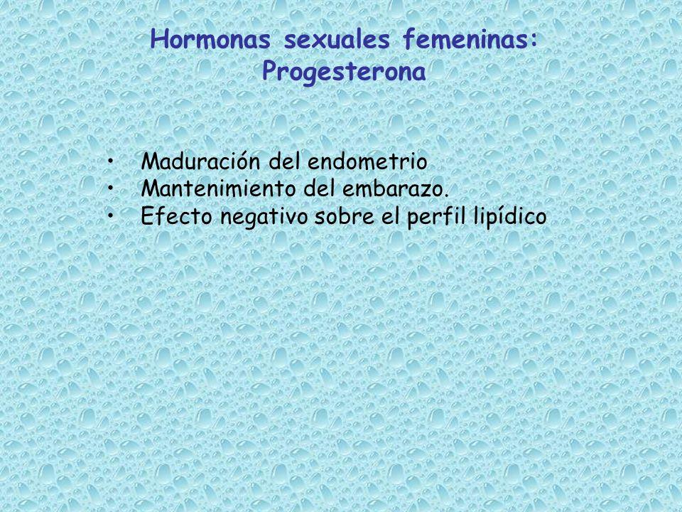 Maduración del endometrio Mantenimiento del embarazo. Efecto negativo sobre el perfil lipídico Hormonas sexuales femeninas: Progesterona