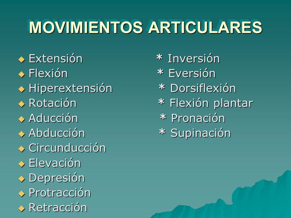 MOVIMIENTOS ARTICULARES Extensión * Inversión Extensión * Inversión Flexión * Eversión Flexión * Eversión Hiperextensión * Dorsiflexión Hiperextensión