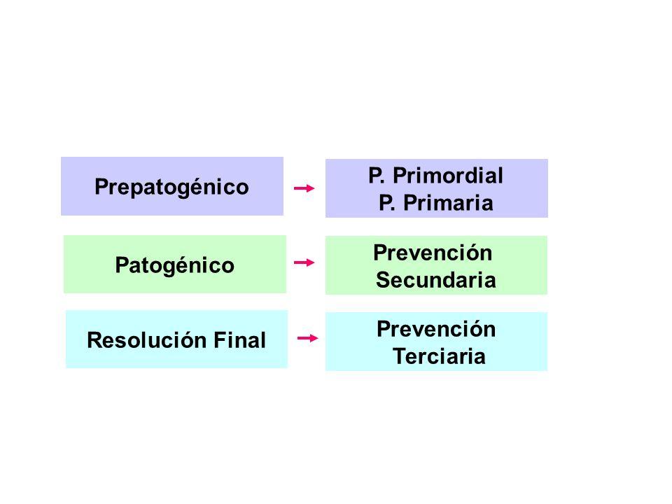 Prepatogénico Patogénico Resolución Final Prevención Secundaria Prevención Terciaria P. Primordial P. Primaria