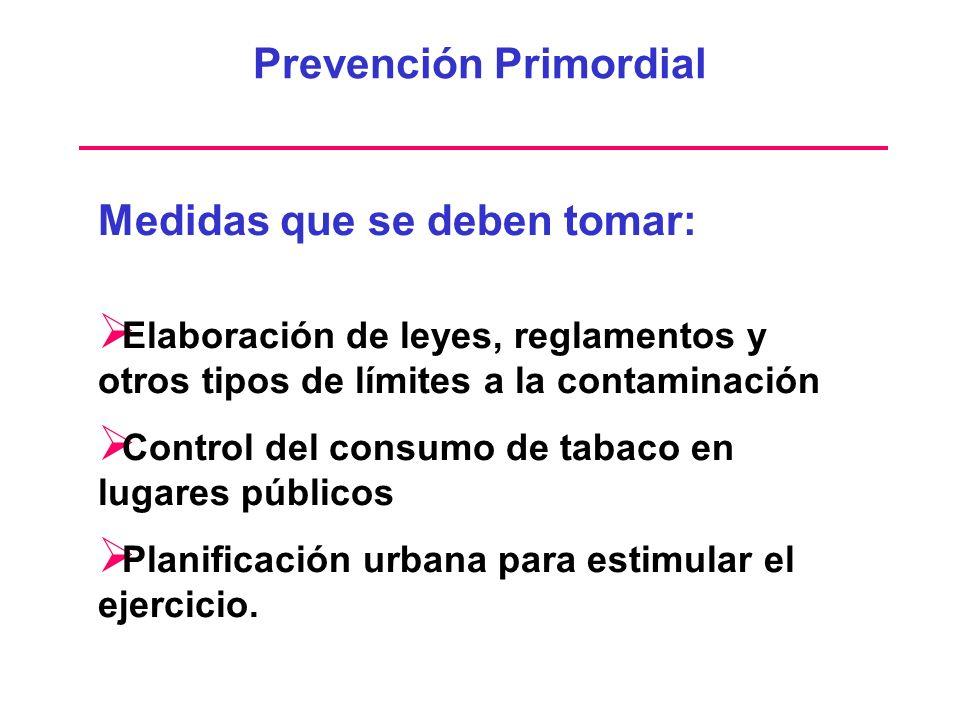 Prevención Primordial Medidas que se deben tomar: Elaboración de leyes, reglamentos y otros tipos de límites a la contaminación Control del consumo de