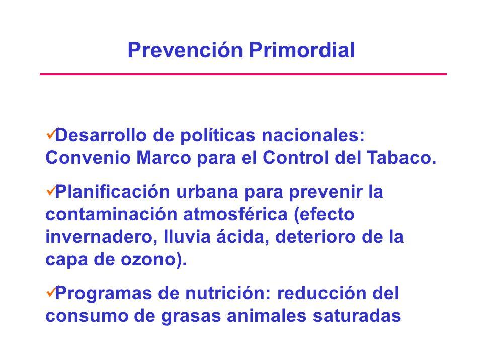 Prevención Primordial Desarrollo de políticas nacionales: Convenio Marco para el Control del Tabaco. Planificación urbana para prevenir la contaminaci