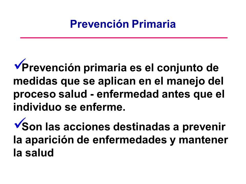 Prevención primaria es el conjunto de medidas que se aplican en el manejo del proceso salud - enfermedad antes que el individuo se enferme. Son las ac