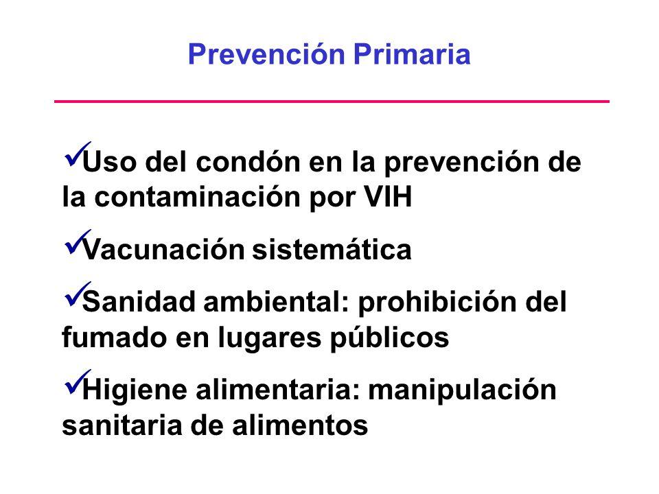 Prevención Primaria Uso del condón en la prevención de la contaminación por VIH Vacunación sistemática Sanidad ambiental: prohibición del fumado en lu