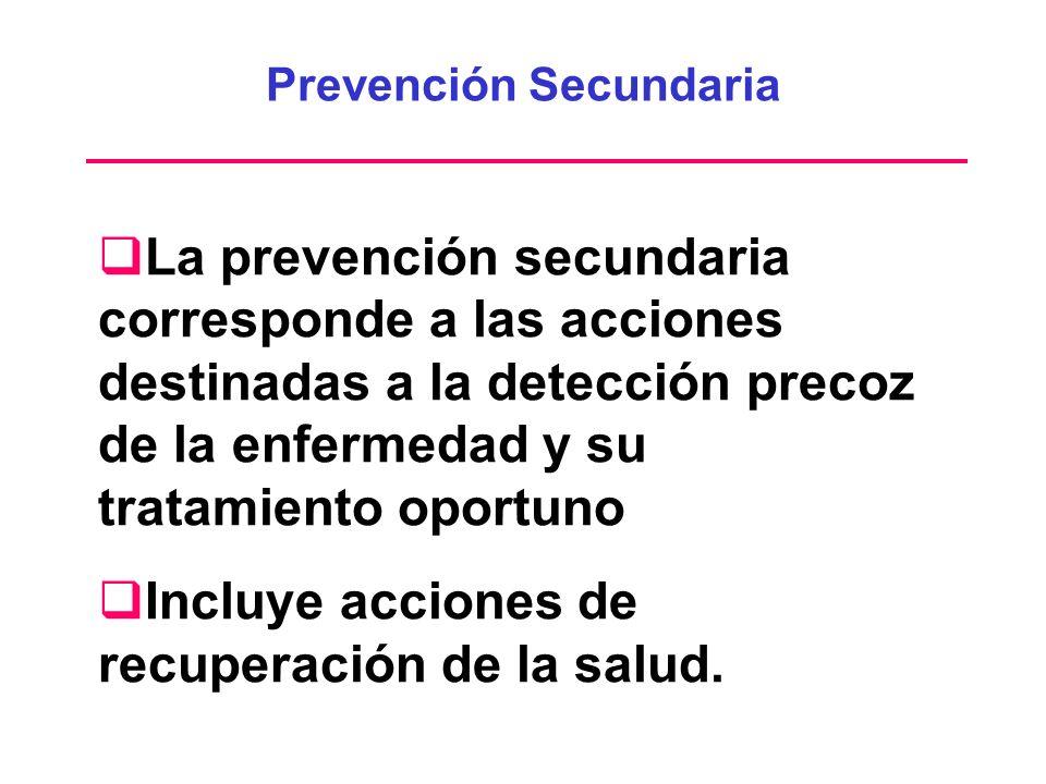 La prevención secundaria corresponde a las acciones destinadas a la detección precoz de la enfermedad y su tratamiento oportuno Incluye acciones de re