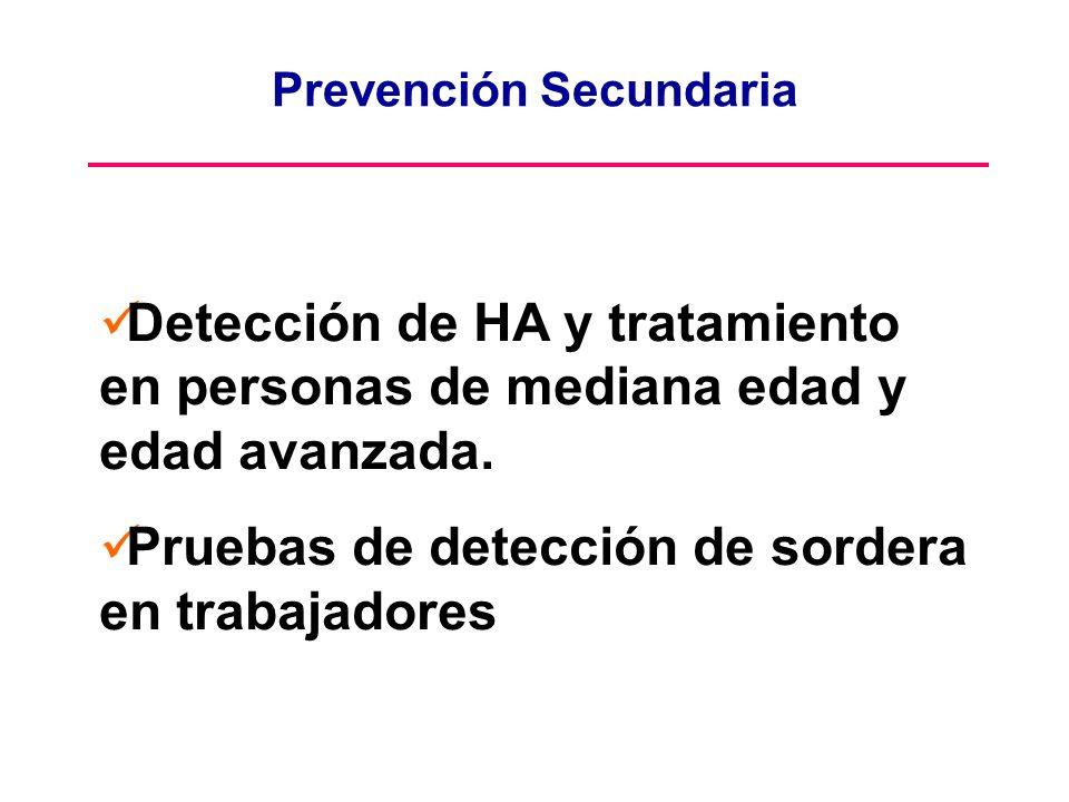Prevención Secundaria Detección de HA y tratamiento en personas de mediana edad y edad avanzada. Pruebas de detección de sordera en trabajadores