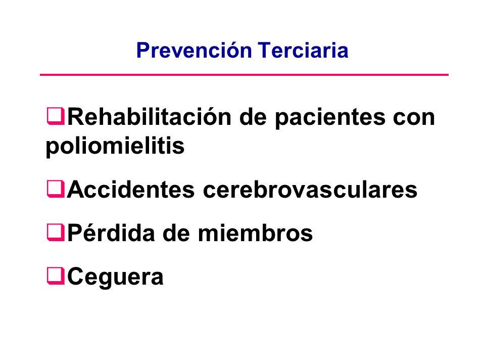 Prevención Terciaria Rehabilitación de pacientes con poliomielitis Accidentes cerebrovasculares Pérdida de miembros Ceguera