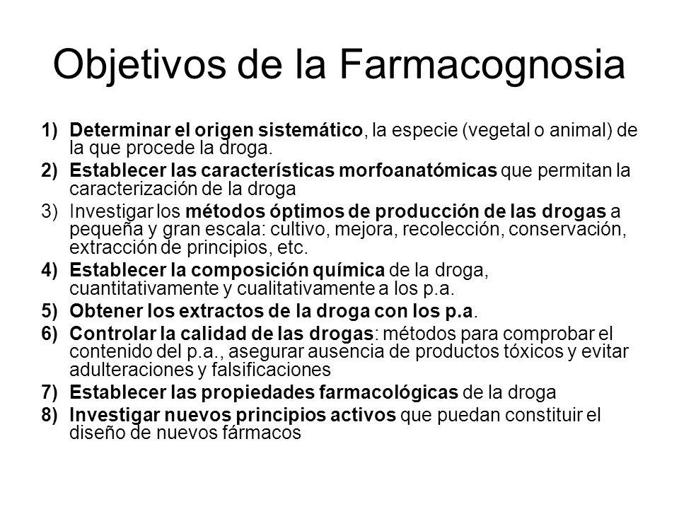 Objetivos de la Farmacognosia 1)Determinar el origen sistemático, la especie (vegetal o animal) de la que procede la droga. 2)Establecer las caracterí