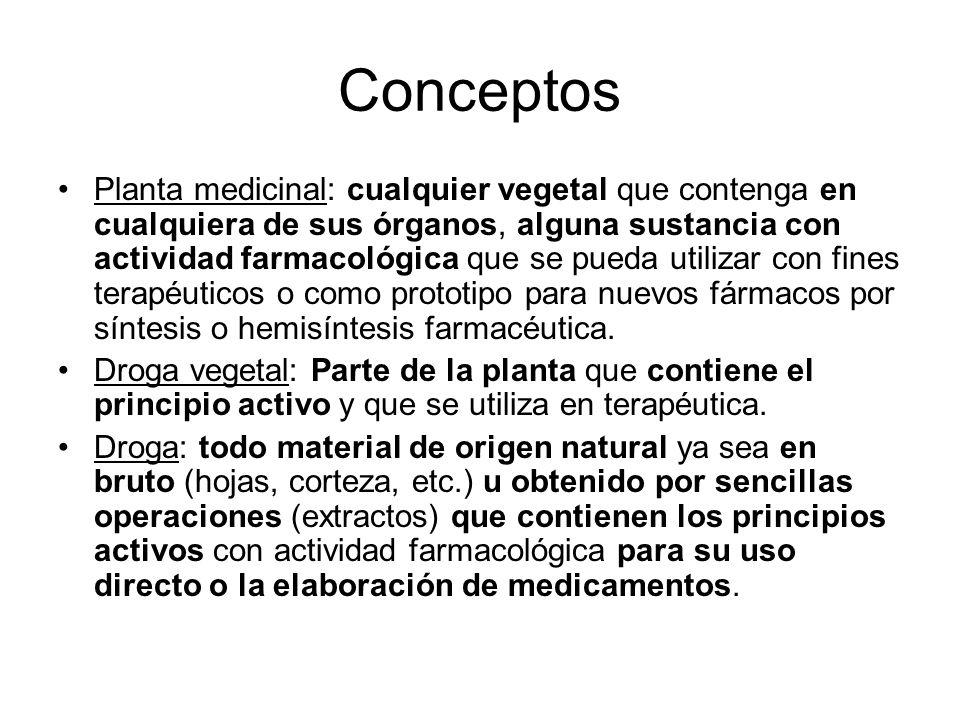 Conceptos Planta medicinal: cualquier vegetal que contenga en cualquiera de sus órganos, alguna sustancia con actividad farmacológica que se pueda uti
