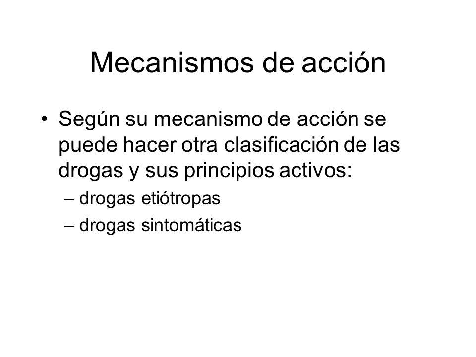 Mecanismos de acción Según su mecanismo de acción se puede hacer otra clasificación de las drogas y sus principios activos: –drogas etiótropas –drogas