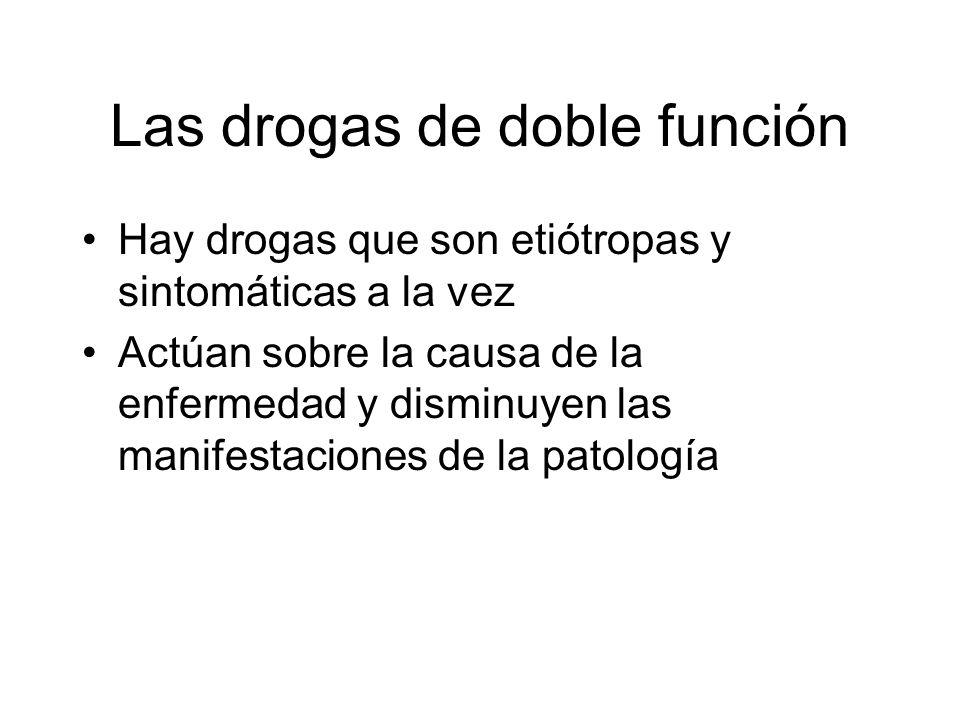 Las drogas de doble función Hay drogas que son etiótropas y sintomáticas a la vez Actúan sobre la causa de la enfermedad y disminuyen las manifestacio