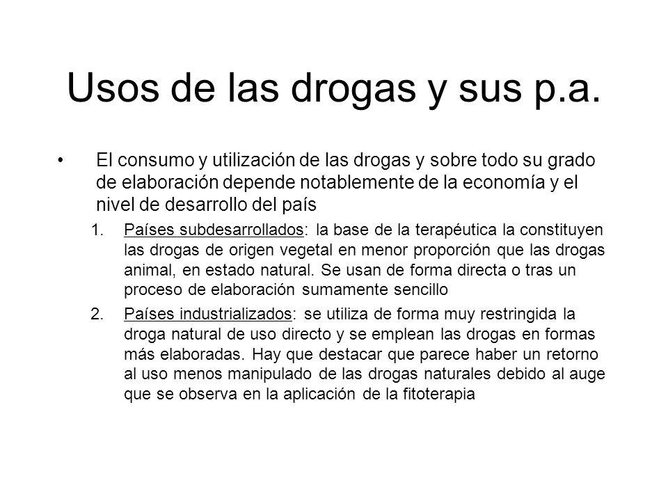 Usos de las drogas y sus p.a. El consumo y utilización de las drogas y sobre todo su grado de elaboración depende notablemente de la economía y el niv
