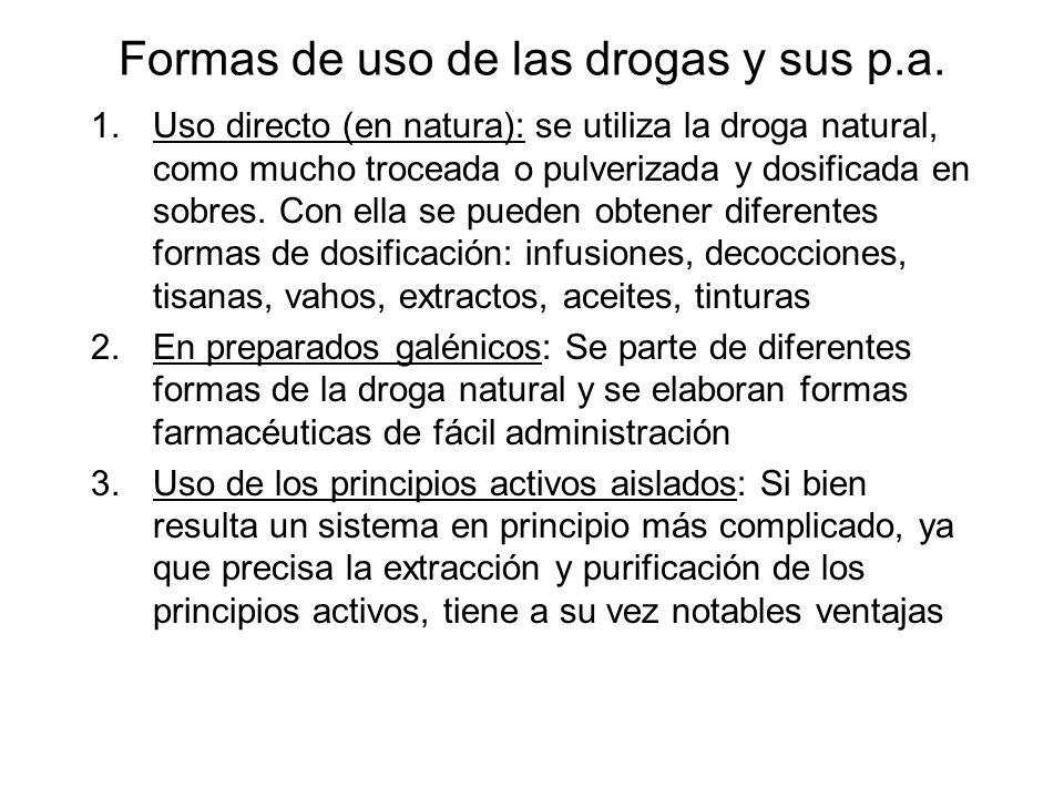 Formas de uso de las drogas y sus p.a. 1.Uso directo (en natura): se utiliza la droga natural, como mucho troceada o pulverizada y dosificada en sobre