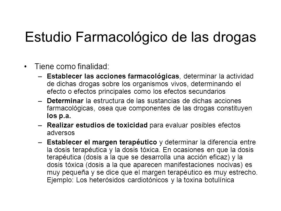 Estudio Farmacológico de las drogas Tiene como finalidad: –Establecer las acciones farmacológicas, determinar la actividad de dichas drogas sobre los