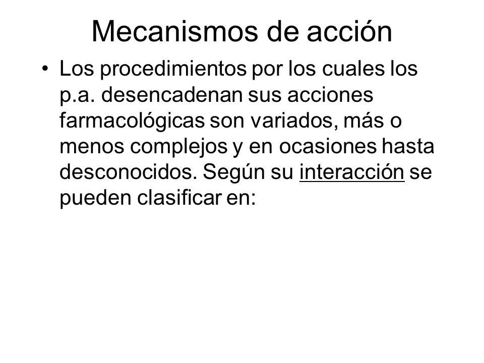 Mecanismos de acción Los procedimientos por los cuales los p.a. desencadenan sus acciones farmacológicas son variados, más o menos complejos y en ocas