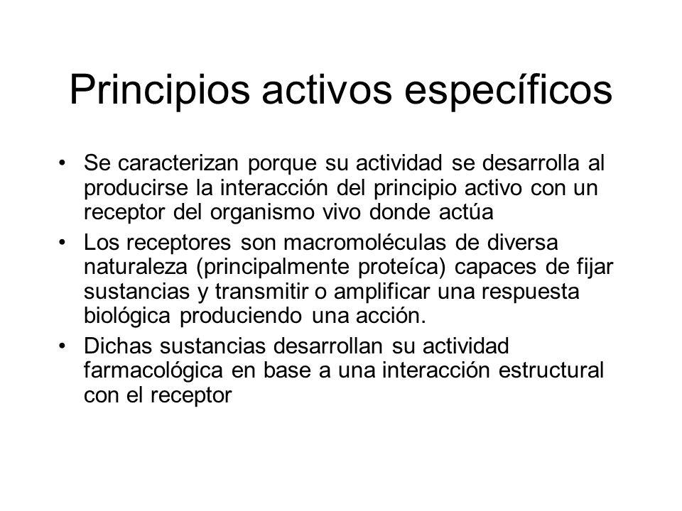 Principios activos específicos Se caracterizan porque su actividad se desarrolla al producirse la interacción del principio activo con un receptor del