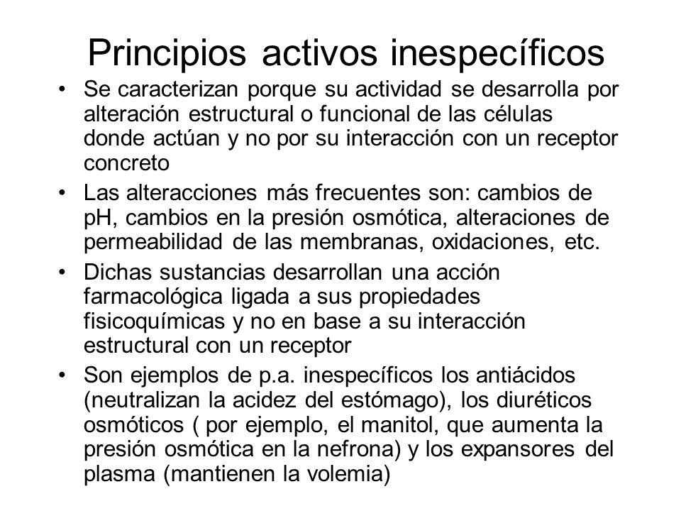 Principios activos inespecíficos Se caracterizan porque su actividad se desarrolla por alteración estructural o funcional de las células donde actúan