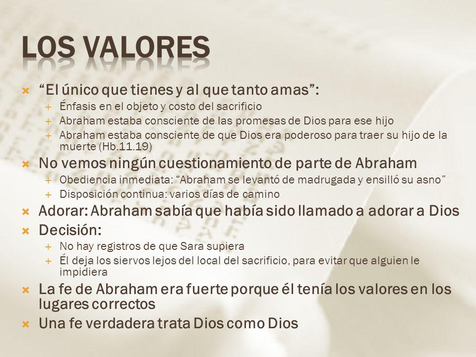 El único que tienes y al que tanto amas: Énfasis en el objeto y costo del sacrificio Abraham estaba consciente de las promesas de Dios para ese hijo A