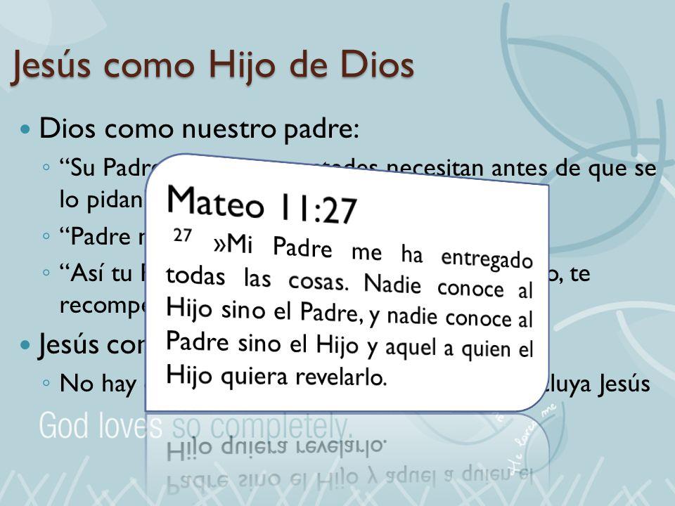 Jesús como Hijo de Dios Dios como nuestro padre: Su Padre sabe lo que ustedes necesitan antes de que se lo pidan Padre nuestro que estás en el cielo A