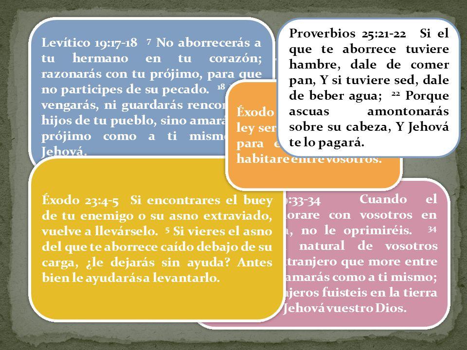 Jesús presenta la falsa visión que los escribas y fariseos crearon para el tema Ellos omitieron una parte de la ley y añadieron otra que no está en la ley: Amarás a tu prójimo: esta en la ley (Lv.19.18) Odiarás a tu enemigo: no está en la ley Distorsión de los fariseos Lv.19 Se aplicaba solo al pueblo de Israel Ellos ignoraban el contexto del texto y de la ley Salmos imprecatorios Guerra y odio santo Levítico 19:17-18 7 No aborrecerás a tu hermano en tu corazón; razonarás con tu prójimo, para que no participes de su pecado.