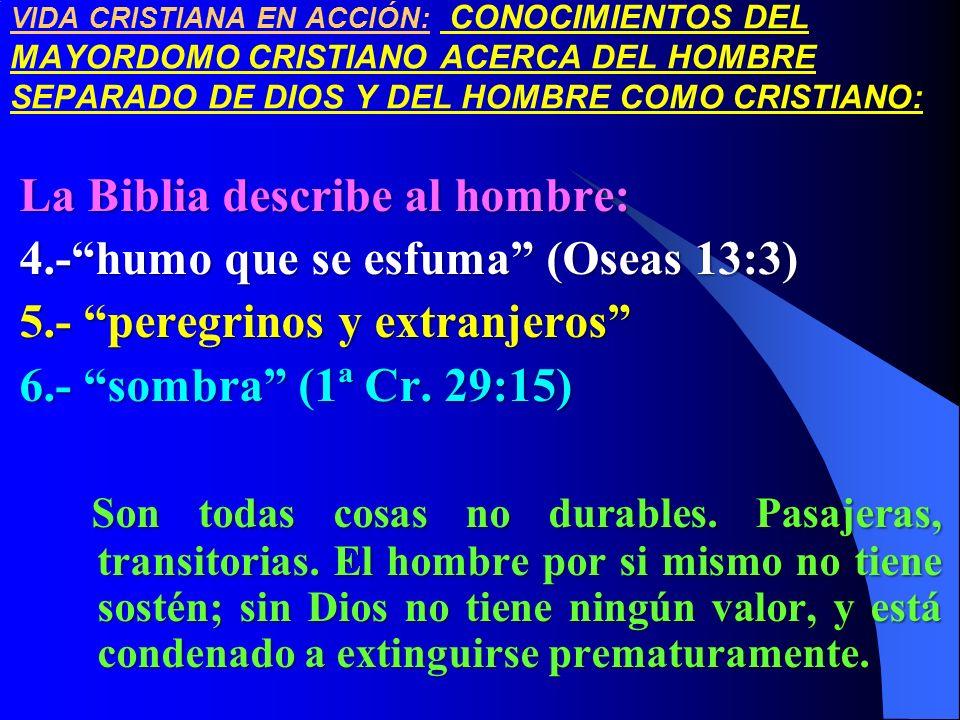 VIDA CRISTIANA EN ACCIÓN: CONOCIMIENTOS DEL MAYORDOMO CRISTIANO ACERCA DEL HOMBRE SEPARADO DE DIOS Y DEL HOMBRE COMO CRISTIANO: La Biblia describe al