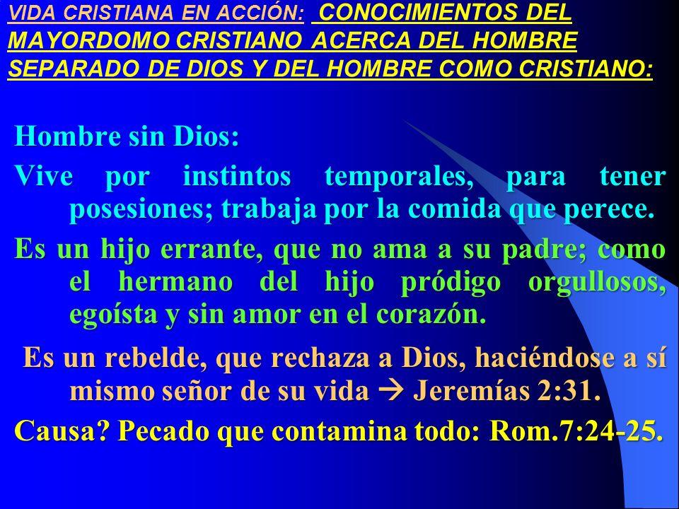VIDA CRISTIANA EN ACCIÓN: CONOCIMIENTOS DEL MAYORDOMO CRISTIANO ACERCA DEL HOMBRE SEPARADO DE DIOS Y DEL HOMBRE COMO CRISTIANO: Hombre sin Dios: Vive