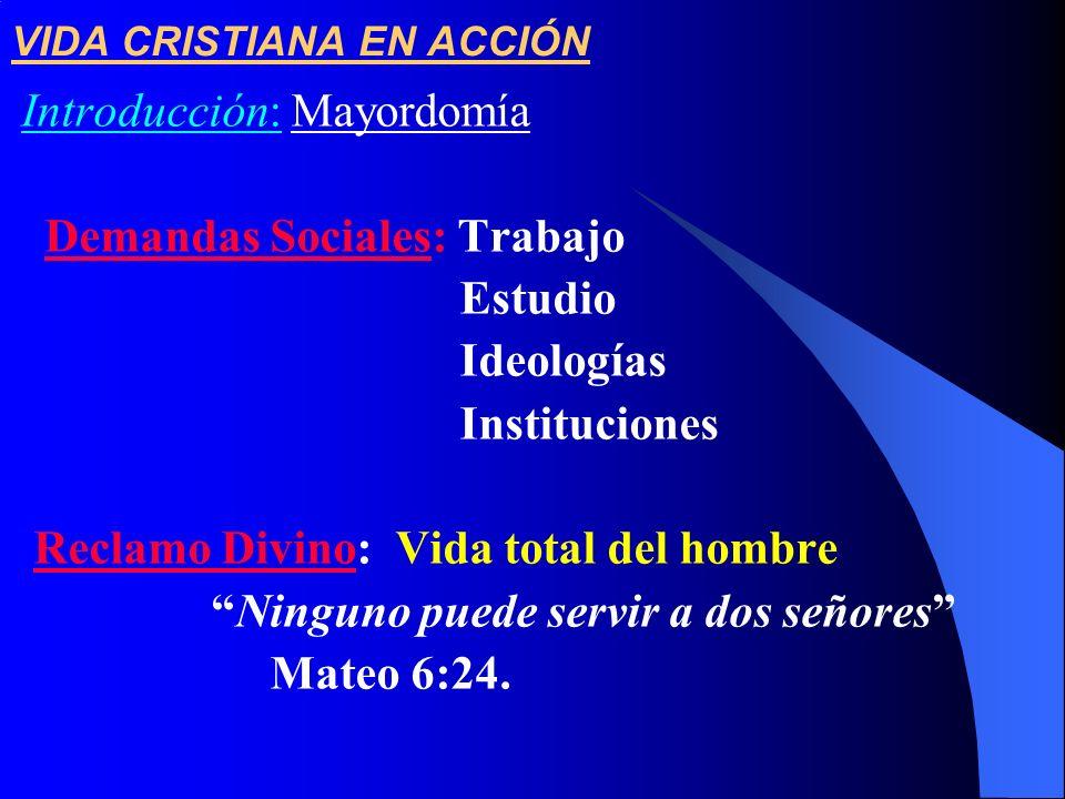 VIDA CRISTIANA EN ACCIÓN Introducción: Mayordomía Demandas Sociales: Trabajo Estudio Ideologías Instituciones Reclamo Divino: Vida total del hombre Ni