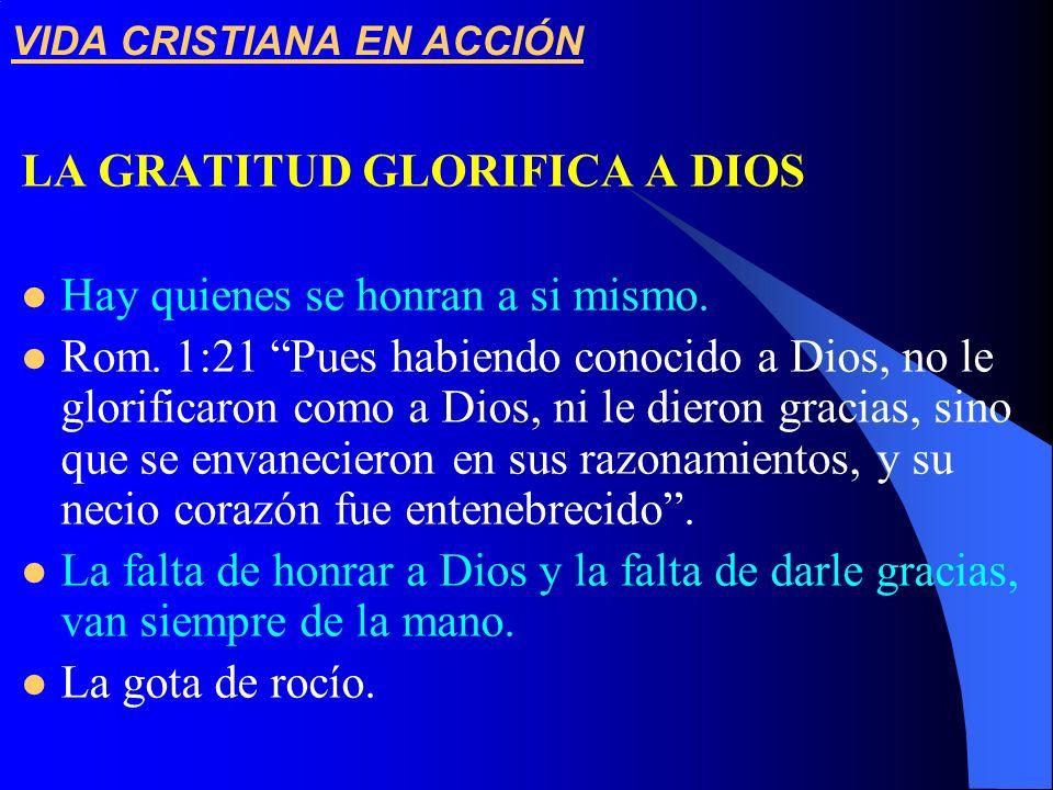 VIDA CRISTIANA EN ACCIÓN LA GRATITUD GLORIFICA A DIOS Hay quienes se honran a si mismo. Rom. 1:21 Pues habiendo conocido a Dios, no le glorificaron co