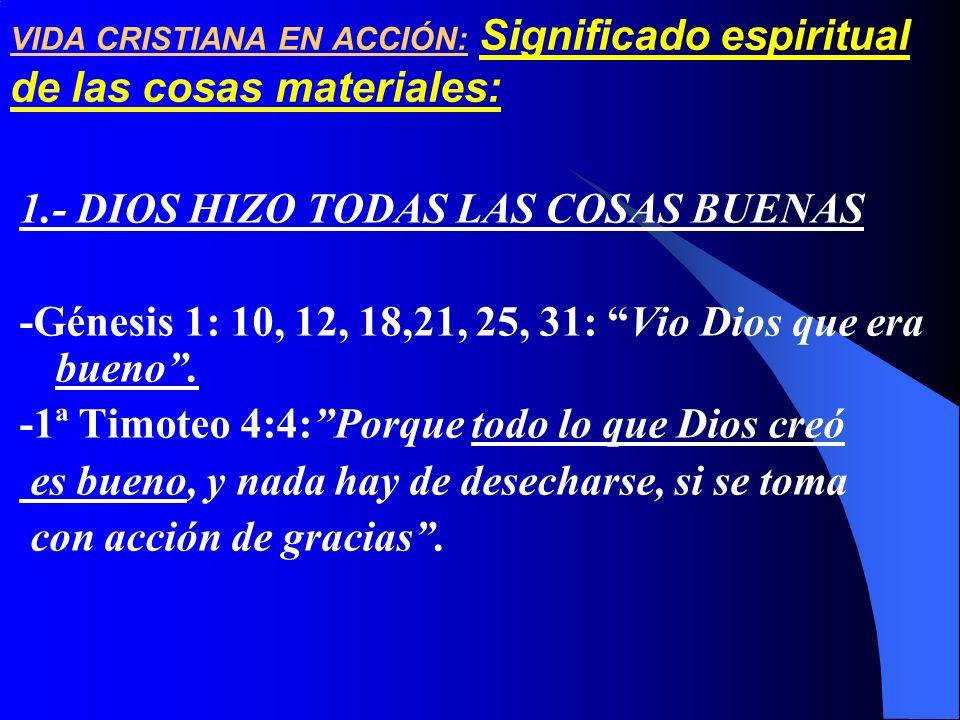VIDA CRISTIANA EN ACCIÓN: Significado espiritual de las cosas materiales: 1.- DIOS HIZO TODAS LAS COSAS BUENAS -Génesis 1: 10, 12, 18,21, 25, 31: Vio