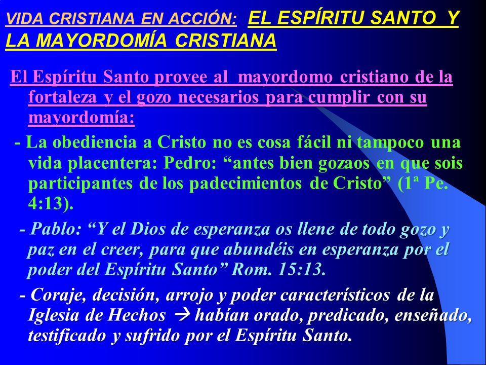 VIDA CRISTIANA EN ACCIÓN: EL ESPÍRITU SANTO Y LA MAYORDOMÍA CRISTIANA El Espíritu Santo provee al mayordomo cristiano de la fortaleza y el gozo necesa
