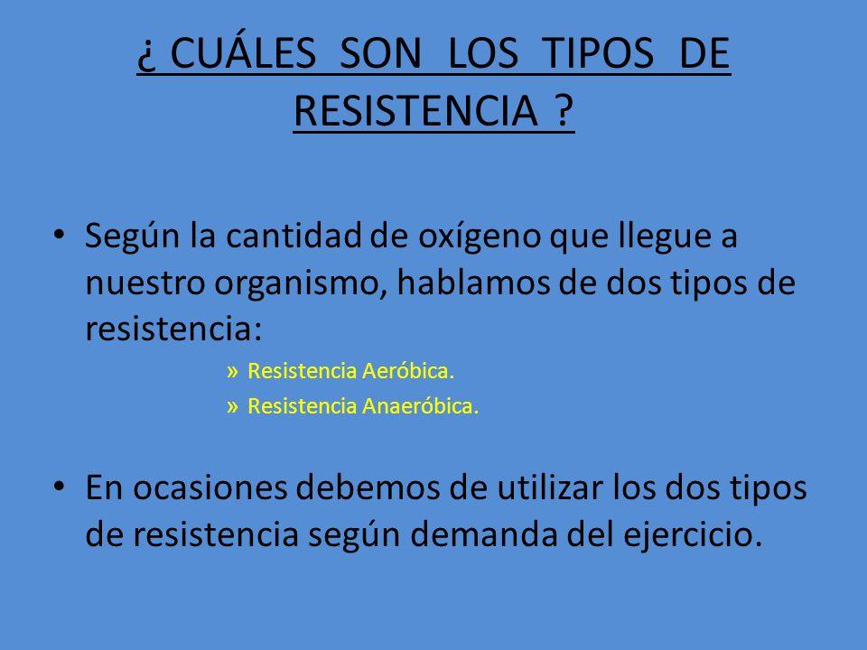 ¿ CUÁLES SON LOS TIPOS DE RESISTENCIA .
