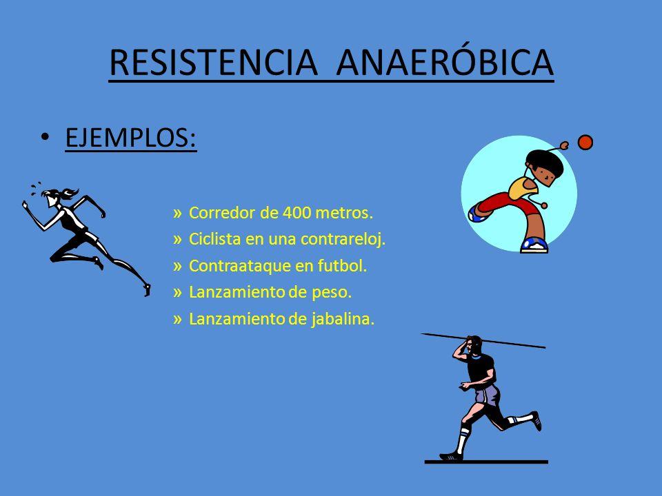 RESISTENCIA ANAERÓBICA EJEMPLOS: » Corredor de 400 metros.