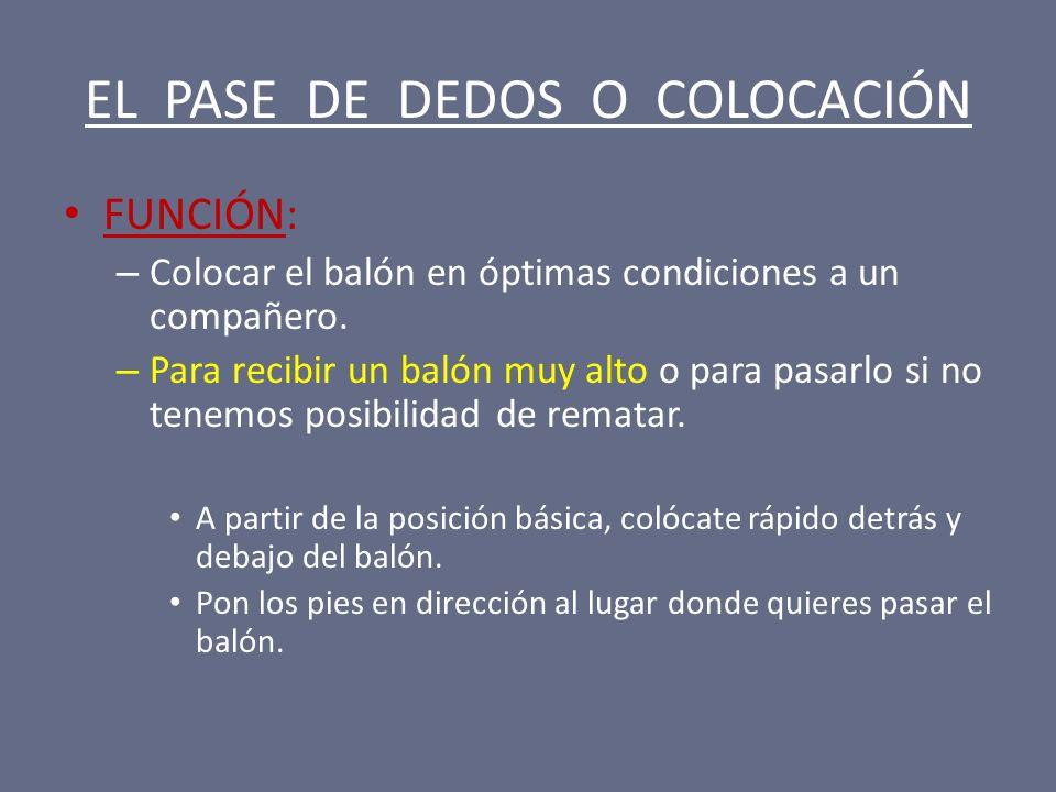 EL PASE DE DEDOS O COLOCACIÓN FUNCIÓN: – Colocar el balón en óptimas condiciones a un compañero. – Para recibir un balón muy alto o para pasarlo si no