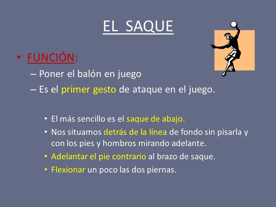 EL SAQUE FUNCIÓN: – Poner el balón en juego – Es el primer gesto de ataque en el juego. El más sencillo es el saque de abajo. Nos situamos detrás de l