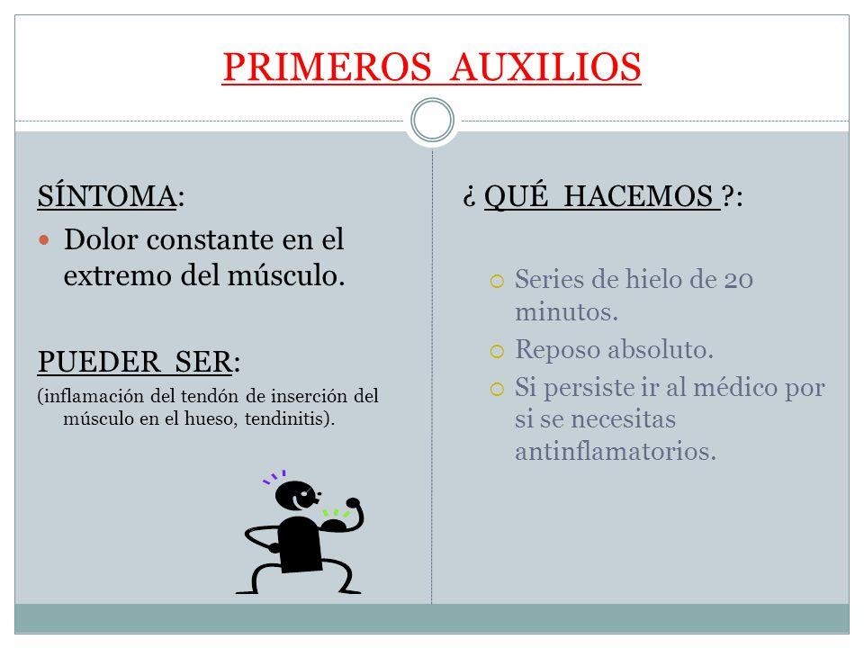 PRIMEROS AUXILIOS SÍNTOMA: Dolor constante en el extremo del músculo. PUEDER SER: (inflamación del tendón de inserción del músculo en el hueso, tendin
