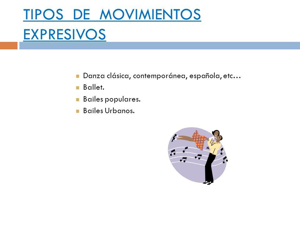 TIPOS DE MOVIMIENTOS EXPRESIVOS Danza clásica, contemporánea, española, etc… Ballet. Bailes populares. Bailes Urbanos.