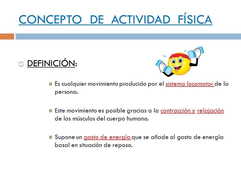 CONCEPTO DE ACTIVIDAD FÍSICA DEFINICIÓN: Es cualquier movimiento producido por el sistema locomotor de la persona. Este movimiento es posible gracias
