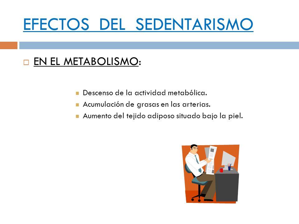 EFECTOS DEL SEDENTARISMO EN EL METABOLISMO: Descenso de la actividad metabólica. Acumulación de grasas en las arterias. Aumento del tejido adiposo sit