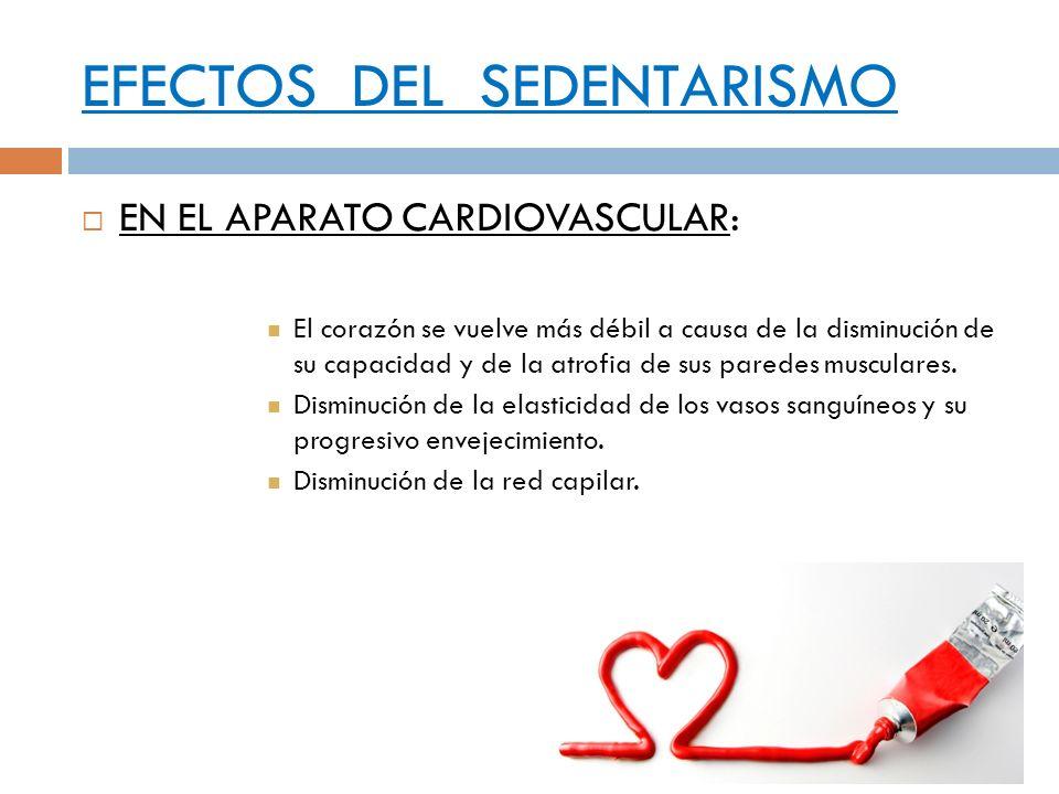 EFECTOS DEL SEDENTARISMO EN EL APARATO CARDIOVASCULAR: El corazón se vuelve más débil a causa de la disminución de su capacidad y de la atrofia de sus