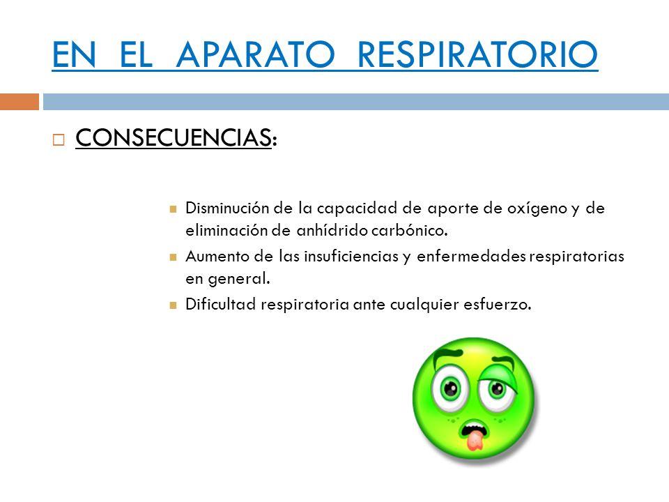 EN EL APARATO RESPIRATORIO CONSECUENCIAS: Disminución de la capacidad de aporte de oxígeno y de eliminación de anhídrido carbónico. Aumento de las ins