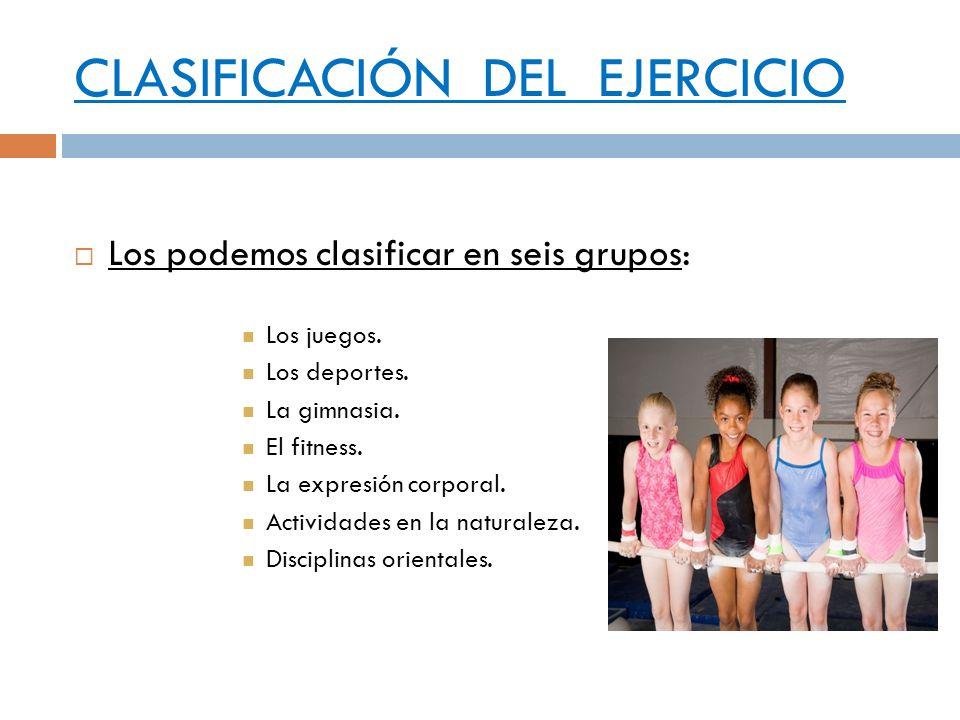 CLASIFICACIÓN DEL EJERCICIO Los podemos clasificar en seis grupos: Los juegos. Los deportes. La gimnasia. El fitness. La expresión corporal. Actividad