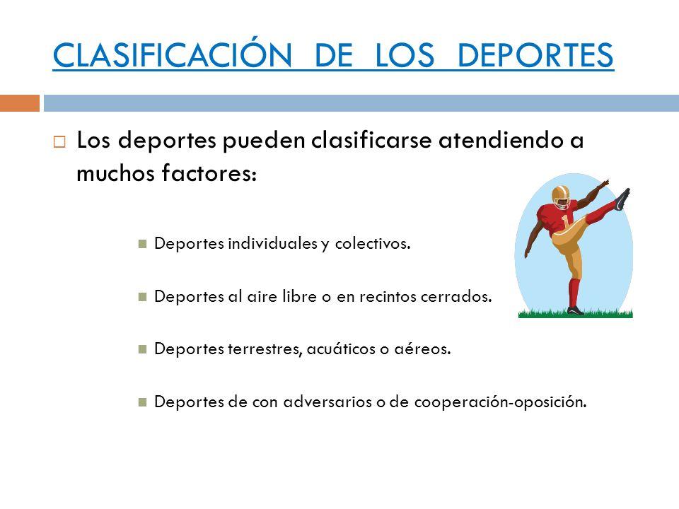 CLASIFICACIÓN DE LOS DEPORTES Los deportes pueden clasificarse atendiendo a muchos factores: Deportes individuales y colectivos. Deportes al aire libr