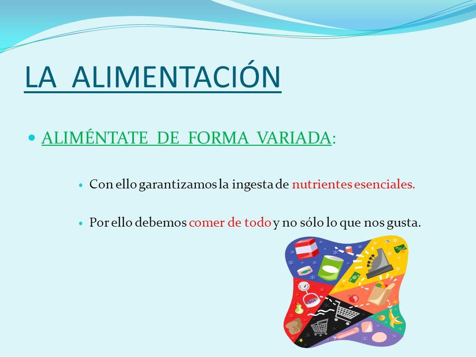 LA ALIMENTACIÓN ALIMÉNTATE DE FORMA VARIADA: Con ello garantizamos la ingesta de nutrientes esenciales.