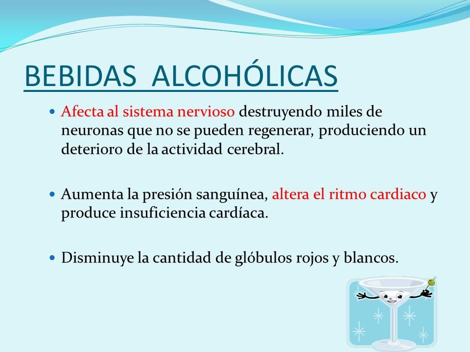 BEBIDAS ALCOHÓLICAS Afecta al sistema nervioso destruyendo miles de neuronas que no se pueden regenerar, produciendo un deterioro de la actividad cerebral.