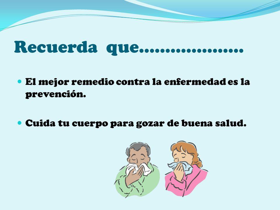 Recuerda que………………..El mejor remedio contra la enfermedad es la prevención.