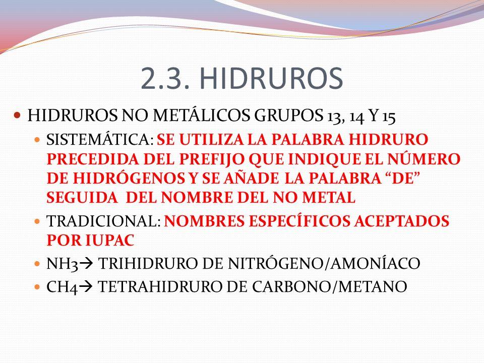 2.3. HIDRUROS HIDRUROS NO METÁLICOS GRUPOS 13, 14 Y 15 SISTEMÁTICA: SE UTILIZA LA PALABRA HIDRURO PRECEDIDA DEL PREFIJO QUE INDIQUE EL NÚMERO DE HIDRÓ